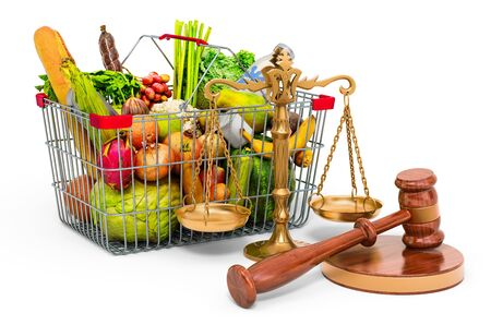 Consumer protection concept. Shopping basket full of products with wooden gavel and scales of justice. 3D rendering isolated on white background Zdjęcie Seryjne