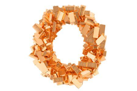 Letter O, from golden ingots. 3D rendering isolated on white background Imagens