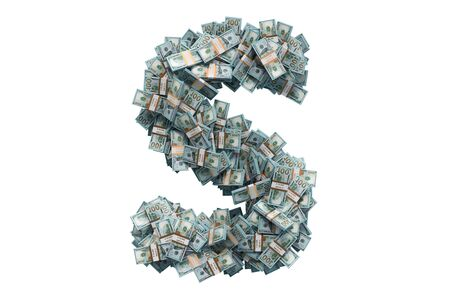 Letter S from dollar packs. 3D rendering isolated on white background
