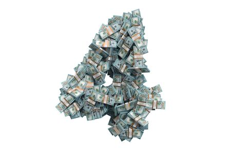Number 4 from dollar packs. 3D rendering isolated on white background