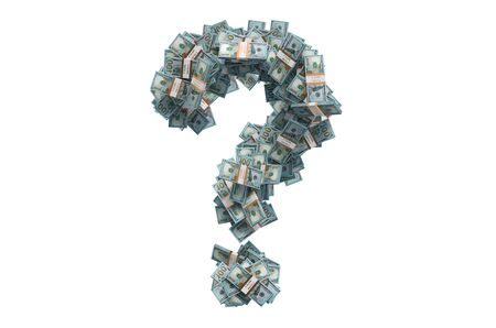 Question mark from dollar packs. Financial question concept, 3D rendering isolated on white background 免版税图像