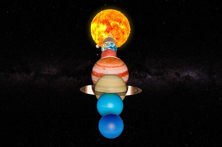 Parade of planets, appulse. 3D rendering