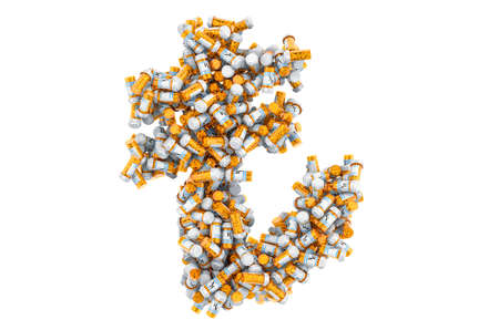 Lira symbol from medical bottles with drugs. 3D rendering isolated on white background