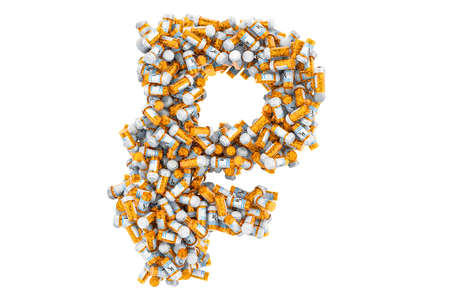 Ruble symbol from medical bottles with drugs. 3D rendering isolated on white background Imagens