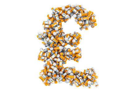 Pound sterling symbol from medical bottles with drugs. 3D rendering isolated on white background Imagens