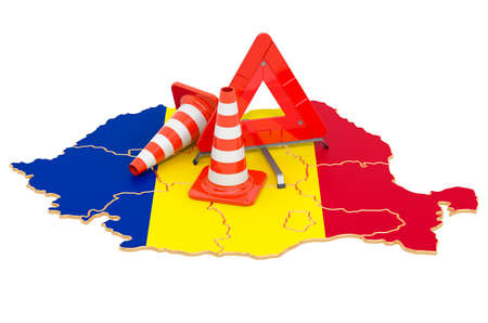 Romanian map with traffic cones and warning triangle, 3D rendering isolated on white background