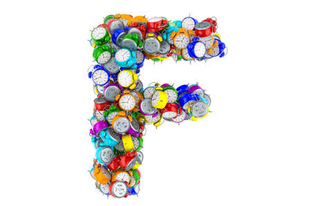 Letter F from colored alarm clocks, 3D rendering isolated on white background
