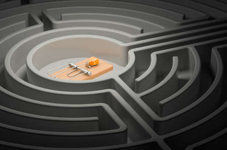 Mousetrap with cheese inside labyrinth maze. 3D rendering