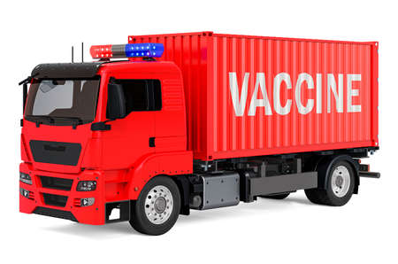 Vaccine shipping concept. Cargo container with vaccine hanging on the crane hook. 3D rendering isolated on white background Stock fotó - 155368392
