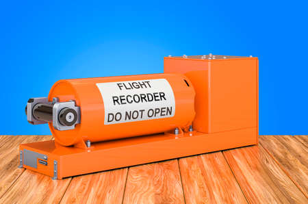 Flight data recorder, black box on the wooden table. 3D rendering