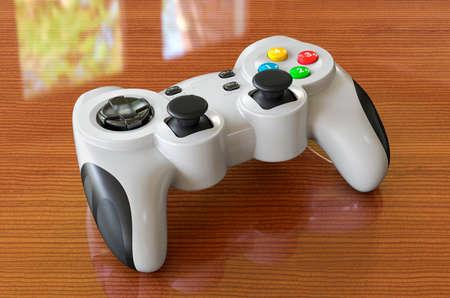 Game controller on the wooden desk. 3D rendering Stock fotó - 155450875