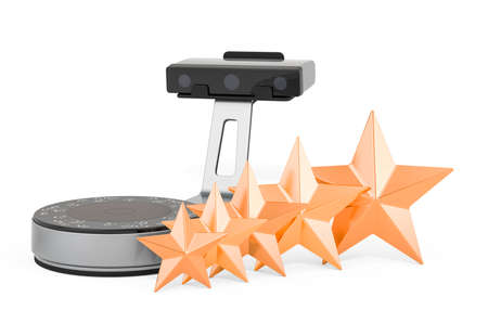 Customer rating of 3D scanner concept. 3D rendering isolated on white background Stock fotó