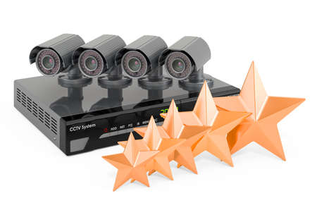 Customer rating of system digital video recorder CCTV, 3D rendering isolated on white background