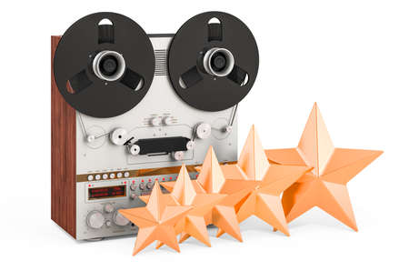 Customer rating of reel-to-reel tape recorder. 3D rendering isolated on white background