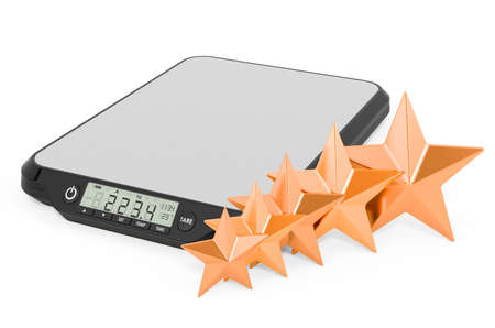 Customer rating of digital kitchen scales concept. 3D rendering isolated on white background