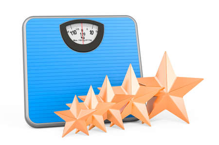 Customer rating of bathroom scale concept. 3D rendering isolated on white background