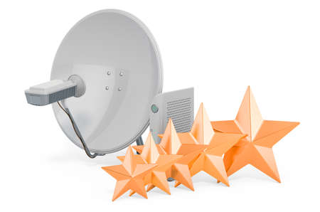 Customer rating of satellite dish, 3D rendering isolated on white background Stock fotó