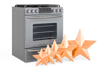 Customer rating of gas range concept. 3D rendering isolated on white background