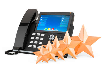 Customer rating of ip phone concept. 3D rendering isolated on white background