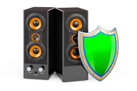 Musical speakers with shield, 3D rendering isolated on white background