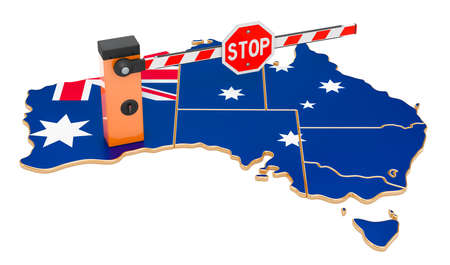 Border close in Australia. Customs and border protection concept. 3D rendering isolated on white background