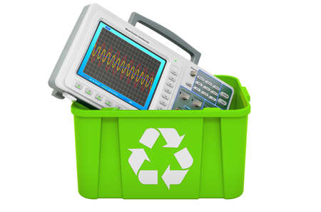 Recycling trashcan with oscilloscope, 3D rendering isolated on white background