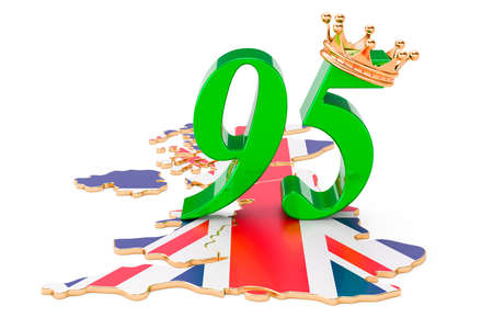 UK Queen's Anniversary 95 concept, 3D rendering isolated on white background
