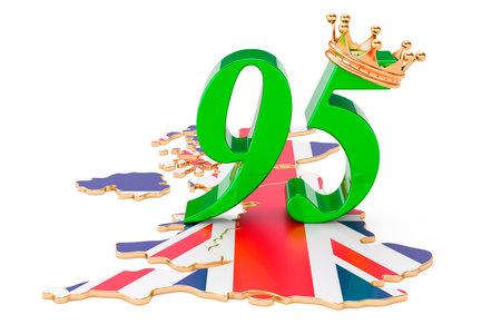 英国女王/王后的周年纪念95概念,3d在白色背景隔绝的翻译