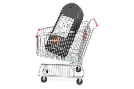Shopping cart with radiation dosimeter, 3D rendering isolated on white background Standard-Bild
