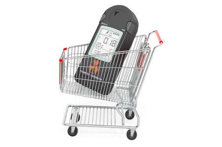 Shopping cart with radiation dosimeter, 3D rendering isolated on white background Stockfoto