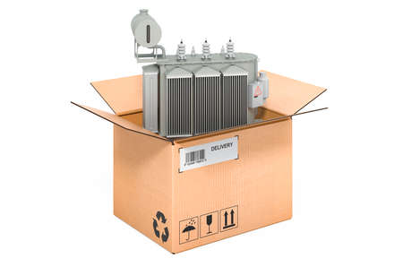 Oil-filled transformer inside cardboard box, delivery concept. 3D rendering isolated on white background