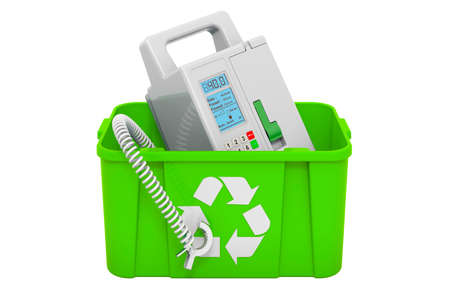 Recycling trashcan with infusion pump. 3D rendering isolated on white background Фото со стока