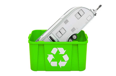 Recycling trashcan with travel trailer, 3D rendering isolated on white background