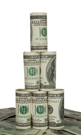 Pyramid of hundred dollar bills on white background Stock Photo - 12168755