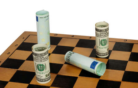 Dollar winning the euro in the chess game photo