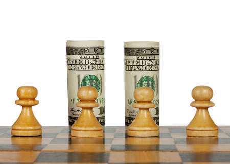 Dollars on the chess board isolated on white Stock Photo - 12168775