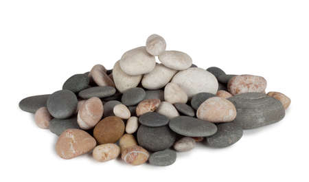 A bunch of round sea pebbles isolated on white background