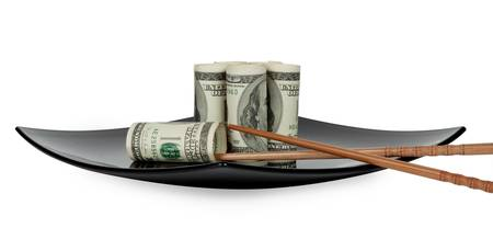 paper plates: Hundred dollar bills on a plate in the form of sushi with chopsticks Chinese