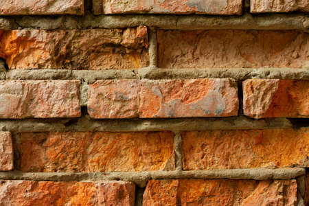 The old red brick wall with cracks Stock Photo - 13635485