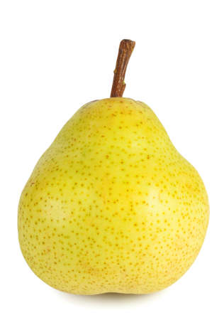 Yellow ripe pear with handle isolated on white background photo
