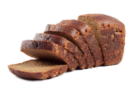 Black rye bread useful isolated on white background photo