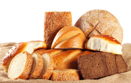 bakery products: Brown bread, bread, cakes isolated on white background Stock Photo