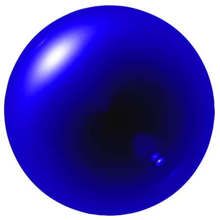 Glare dark blue ball isolated on white background photo