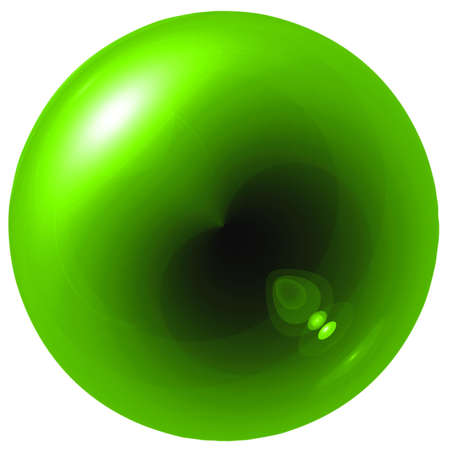 Glare green ball isolated on white background photo