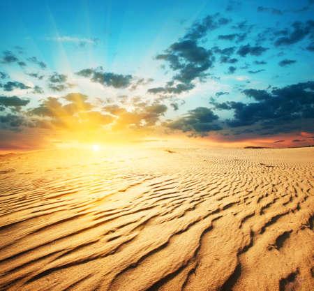 pustynia: Czerwony zachód słońca na pustyni z wydm