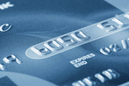 mastercard: Fragment of credit card with the numbers in the business colors Stock Photo