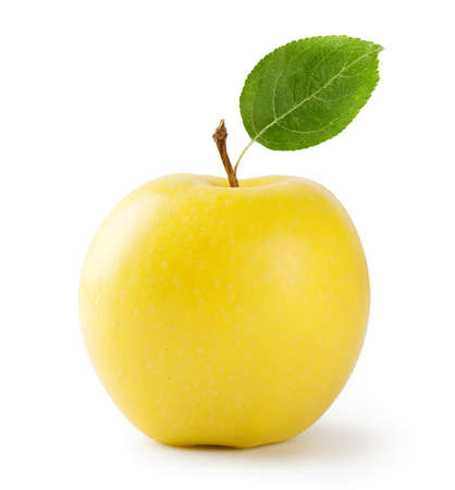 Ripe yellow apple with leaf isolated on white background Standard-Bild