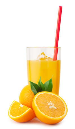 orange juice: Orange juice with ice and oranges isolated on white background