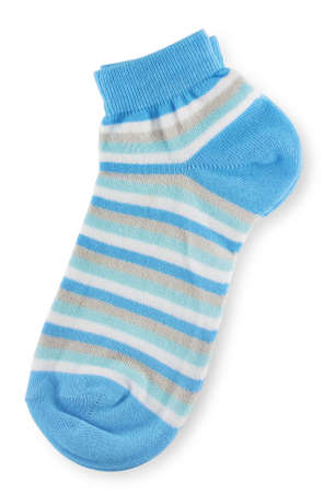 Couple of trendy blue striped socks on white background