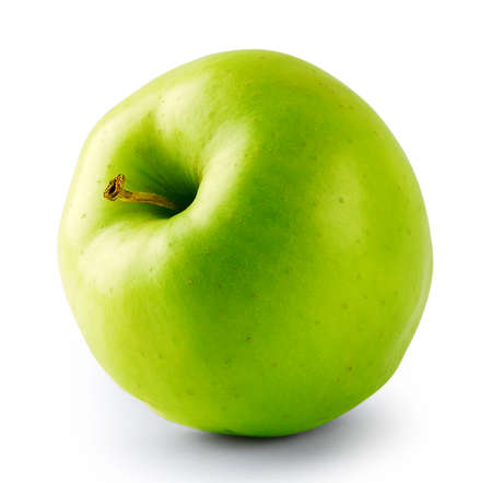 Green juicy apple with a tail isolated on white background